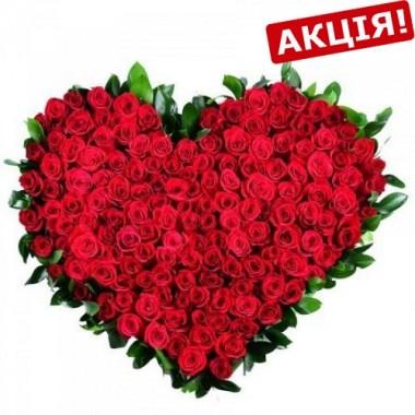 Букет 101 троянда Серце 70 см