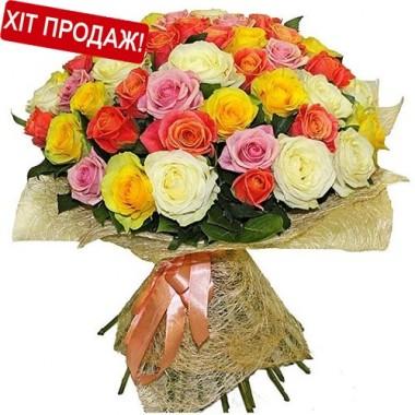 Букет 51 різнокольорова троянда 60 см