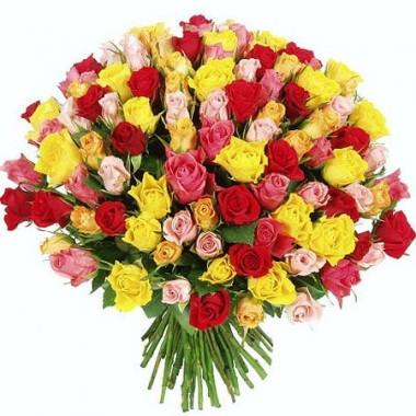 Букет 101 різнокольорова троянда 50 см