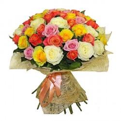 51 різнокольорова троянда 70 см