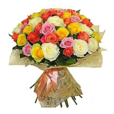 Букет 51 різнокольорова троянда 70 см