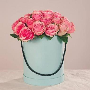 25 рожевих троянд в коробці