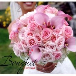 Весільний букет нареченої з калл і троянд № 10