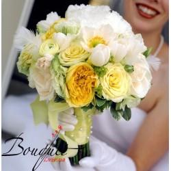 Весільний букет нареченої з троянд та тюльпанів № 14
