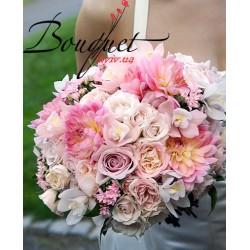 Весільний букет нареченої з трояндами № 19