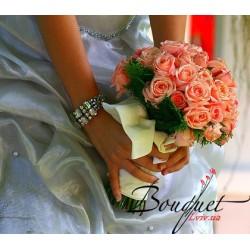Весільний букет нареченої з коралових троянд № 2