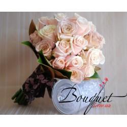 Весільний букет нареченої з рожевими трояндами № 25