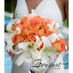 Весільний букет нареченої з троянд і лілій № 3