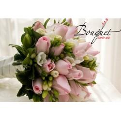 Весільний букет нареченої з трояндами № 32