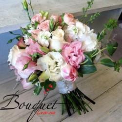 Весільний букет нареченої з трояндами № 36
