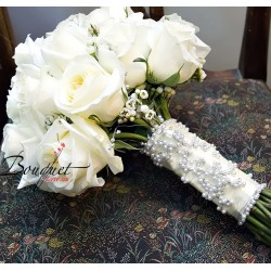 Весільний букет нареченої з трояндами № 39