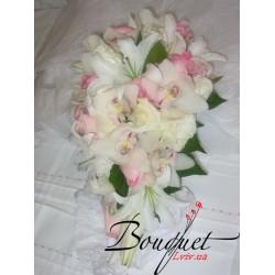 Весільний букет нареченої з лілій і орхідей № 7